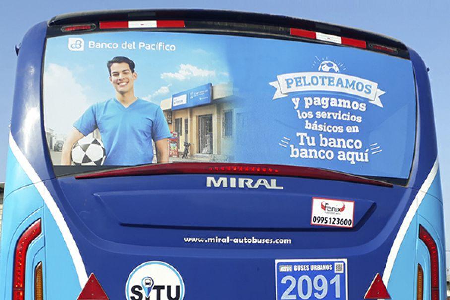 Publicidad en posteriores de buses en guayaquil